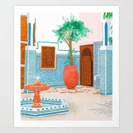 Moroccan Villa #painting #illustration Art Print
