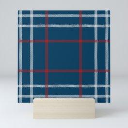 Red, White & Blue Plaid Tartan Pattern Mini Art Print
