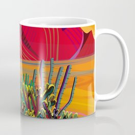 Cactus Garden Sunset Square Coffee Mug