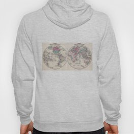 Vintage Map of The World (1866) Hoody