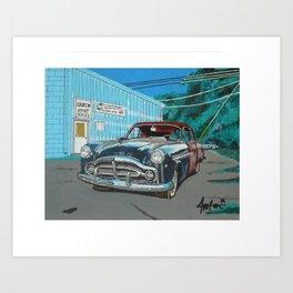 rusty Packard car Art Print