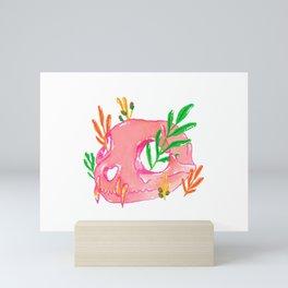 Pink Animal Skull and Foliage Mini Art Print