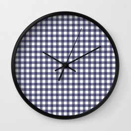 Indigo Gingham Wall Clock