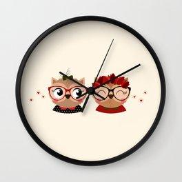 jumelles hiboux Wall Clock
