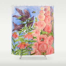 Cottage Garden Butterfly Bush Watercolor Illustration Shower Curtain