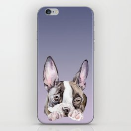 Boston Terrier Dog Watercolor Painting iPhone Skin