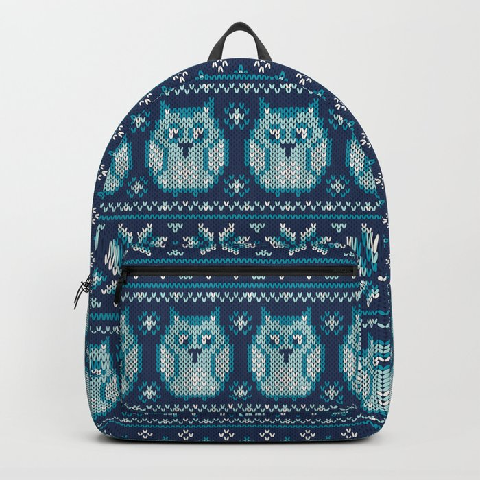 Owls winter knitted pattern Backpack