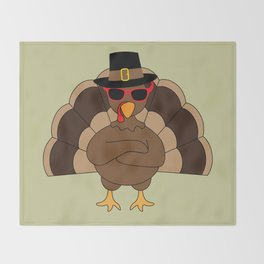 Cool Turkey with sunglasses Happy Thanksgiving Throw Blanket