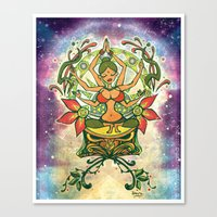 goddess Canvas Prints featuring Goddess by Divya Suvarna