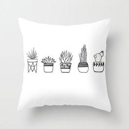 Cacti Line Drawing Throw Pillow