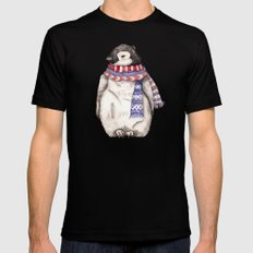 Baby Penguin in Red and Blue Scarf. Winter Season MEDIUM Mens Fitted Tee Black