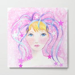 Whimiscal Girl with Blue Ribbons Metal Print