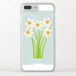 Pastel Mint Blue White Daffodils Hero Clear iPhone Case