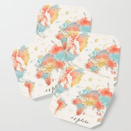 """""""Explore"""" - Colorful watercolor world map with cities Coaster"""