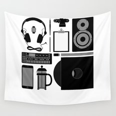 Studio Objects Vector Illustration Wall Tapestry