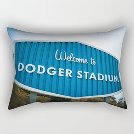 Welcome to Dodger Stadium | Los Angeles California Nostalgic Iconic Sign Art Print Tapestry Rectangular Pillow
