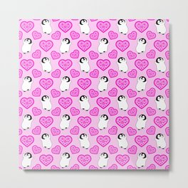 Cute happy cheerful dancing baby penguins cartoon and pretty red hearts pale pastel pink whimsical seamless pattern. Gifts for penguin lovers. Nursery decor ideas. Metal Print