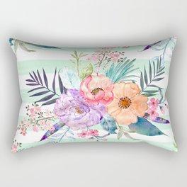 Watercolor Boho floral, tropical leaves, stripes hand paint Rectangular Pillow