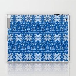 Scandinavian blue, white ornament. Laptop & iPad Skin