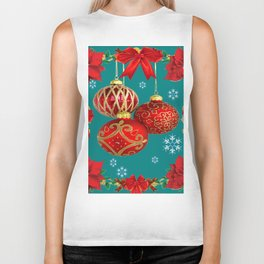 TEAL COLOR RED CHRISTMAS  ORNAMENTS &  POINSETTIAS FLOWER Biker Tank