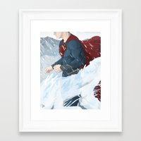 man of steel Framed Art Prints featuring Man of Steel by Berkay Daglar