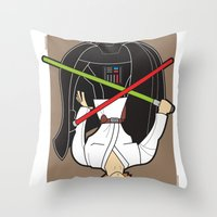 Darth Vader and Luke Throw Pillow