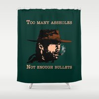 clint eastwood Shower Curtains featuring Clint Eastwood by Mr. Stonebanks