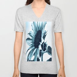 Pastel Blue Sunflower Unisex V-Neck