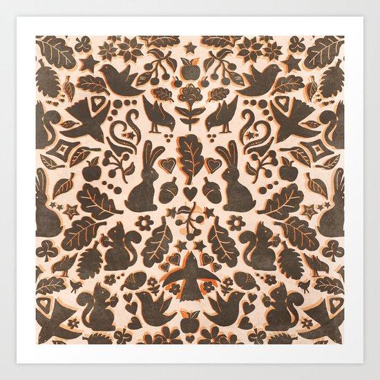 Two Rabbits - folk art pattern in tan, brown, cream & orange Art Print