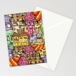 Suburbia watercolor collage Stationery Cards