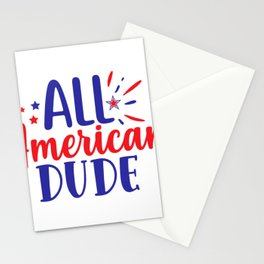 July 4th Memorial Day Labor Day Veterans Day All American Dude Stationery Cards