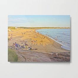 Crowded enjoying summer at the beach Metal Print