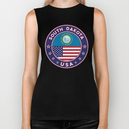 South Dakota, USA States, South Dakota t-shirt, South Dakota sticker, circle Biker Tank