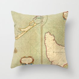 Vintage Map of Bermuda & Barbados (1707) Throw Pillow