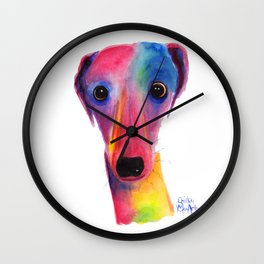 Nosey Dog Whippet Greyhound ' BeLLa ' by Shirley MacArthur Wall Clock