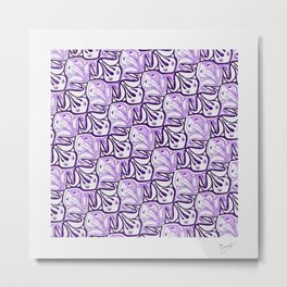 Symmetric Frog Tessellation in Purple Metal Print