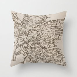 Vintage Map of Scotland (1681) Throw Pillow