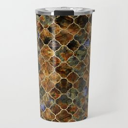 Quatrefoil Moroccan Pattern Brown Labradorite Travel Mug