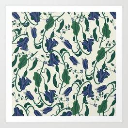 Blue Vintage Flower Pattern Art Print