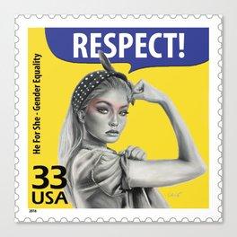 Gigi The Riveter Stamp Canvas Print
