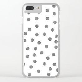 Preppy brushstroke dots black and white spots design minimal #society6 #decor #buyart #artprint Clear iPhone Case