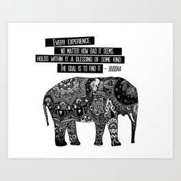 Blessing Buddha Quote Art Print
