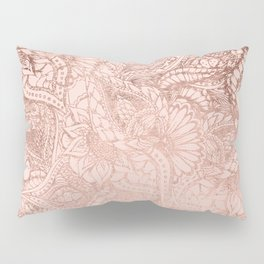 Modern rose gold floral illustration on blush pink Pillow Sham