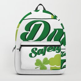 Safety First Drink With A Nurse St Patrick's Day Backpack