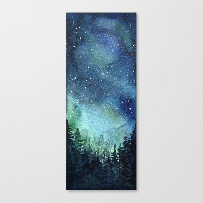 galaxy watercolor aurora borealis painting canvas print by olechka