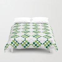 green pattern Duvet Covers featuring Pattern Green by Ochre Creative