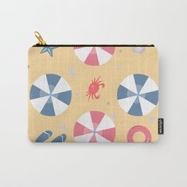 Summer Seamless Pattern. Beach with umbrellas and other summer elements Carry-All Pouch