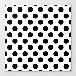 Black and White Medium Polka Dots Canvas Print