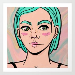 Pastel Manga Female Illustration of a Young Artsy Girl Art Print