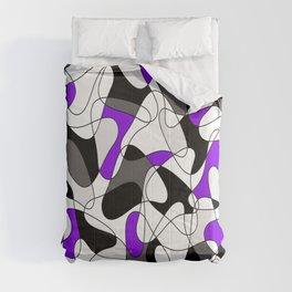 Abstract pattern - purple, gray, black and white. Comforters